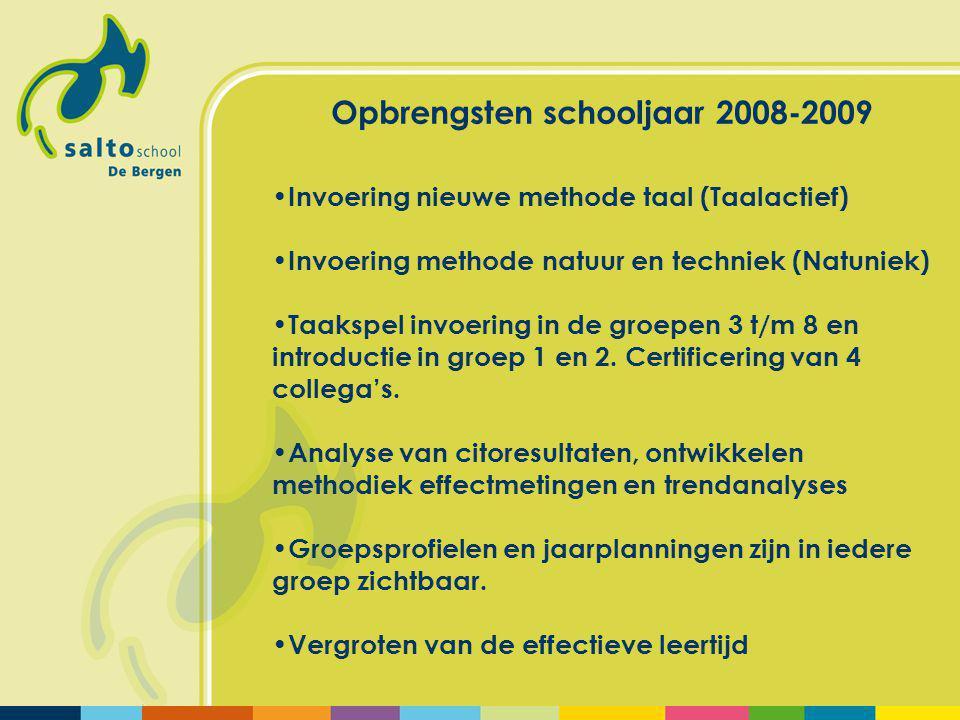 Opbrengsten schooljaar 2008-2009 Invoering nieuwe methode taal (Taalactief) Invoering methode natuur en techniek (Natuniek) Taakspel invoering in de groepen 3 t/m 8 en introductie in groep 1 en 2.