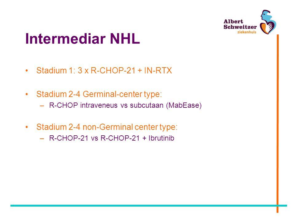 Intermediar NHL Stadium 1: 3 x R-CHOP-21 + IN-RTX Stadium 2-4 Germinal-center type: –R-CHOP intraveneus vs subcutaan (MabEase) Stadium 2-4 non-Germinal center type: –R-CHOP-21 vs R-CHOP-21 + Ibrutinib
