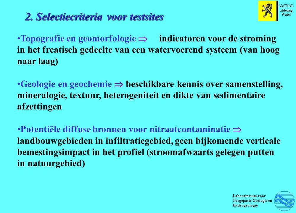 2. Selectiecriteria voor testsites Topografie en geomorfologie  indicatoren voor de stroming in het freatisch gedeelte van een watervoerend systeem (