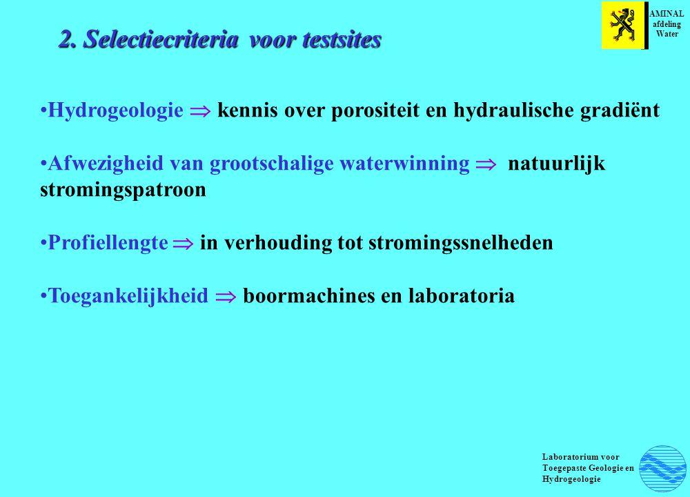 2. Selectiecriteria voor testsites Hydrogeologie  kennis over porositeit en hydraulische gradiënt Afwezigheid van grootschalige waterwinning  natuur