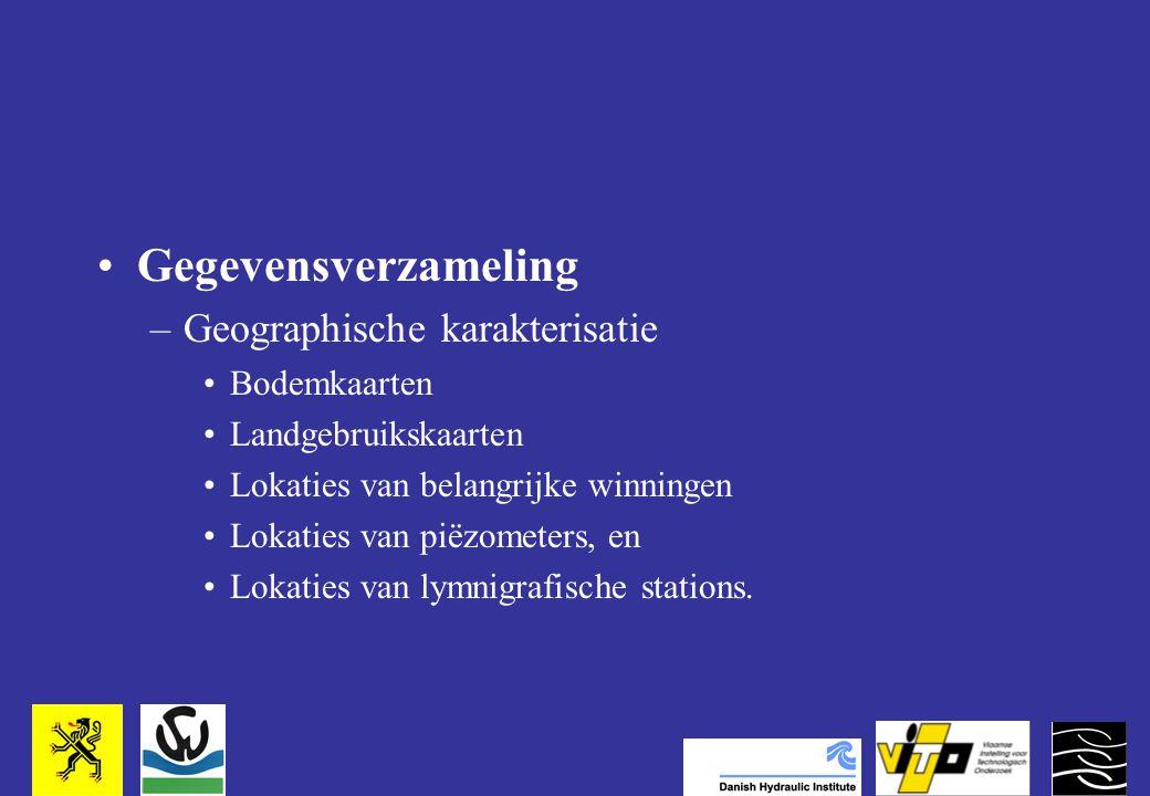 Gegevensverzameling –Geographische karakterisatie Bodemkaarten Landgebruikskaarten Lokaties van belangrijke winningen Lokaties van piëzometers, en Lokaties van lymnigrafische stations.
