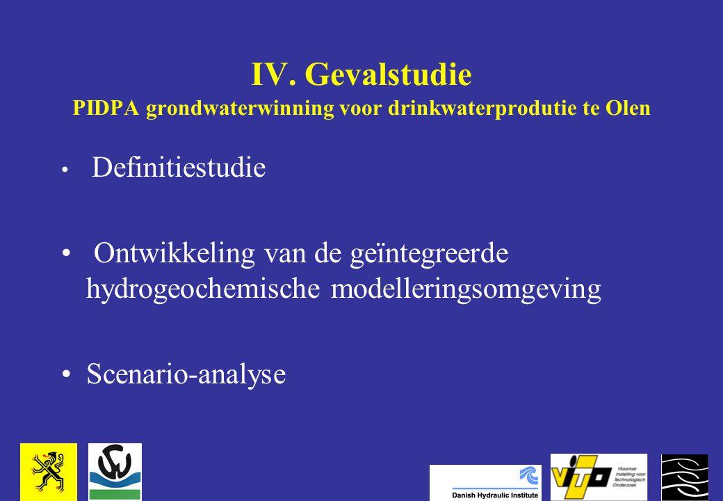 IV. Gevalstudie PIDPA grondwaterwinning voor drinkwaterprodutie te Olen Definitiestudie Ontwikkeling van de geïntegreerde hydrogeochemische modellerin