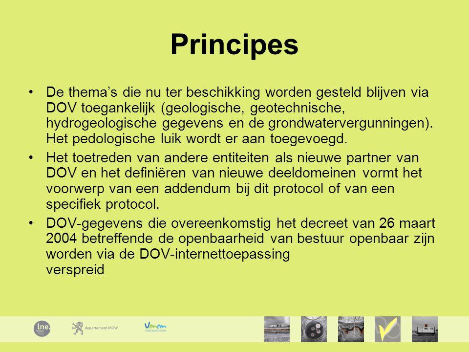 Principes De thema's die nu ter beschikking worden gesteld blijven via DOV toegankelijk (geologische, geotechnische, hydrogeologische gegevens en de grondwatervergunningen).