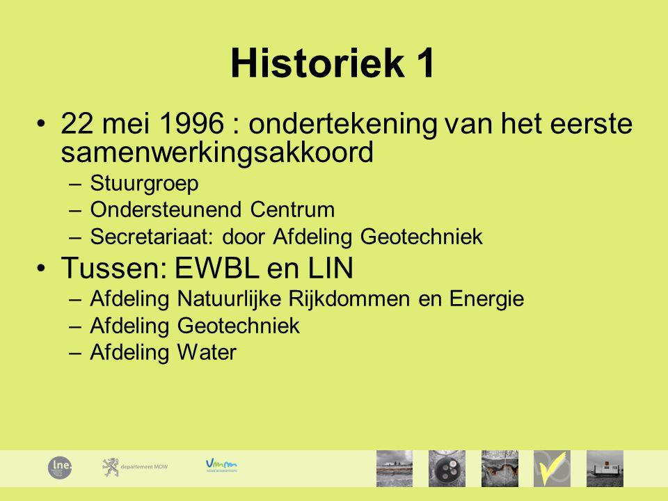Historiek 1 22 mei 1996 : ondertekening van het eerste samenwerkingsakkoord –Stuurgroep –Ondersteunend Centrum –Secretariaat: door Afdeling Geotechniek Tussen: EWBL en LIN –Afdeling Natuurlijke Rijkdommen en Energie –Afdeling Geotechniek –Afdeling Water