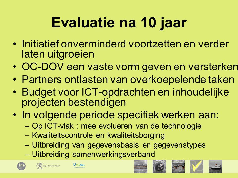 Evaluatie na 10 jaar Initiatief onverminderd voortzetten en verder laten uitgroeien OC-DOV een vaste vorm geven en versterken Partners ontlasten van overkoepelende taken Budget voor ICT-opdrachten en inhoudelijke projecten bestendigen In volgende periode specifiek werken aan: –Op ICT-vlak : mee evolueren van de technologie –Kwaliteitscontrole en kwaliteitsborging –Uitbreiding van gegevensbasis en gegevenstypes –Uitbreiding samenwerkingsverband