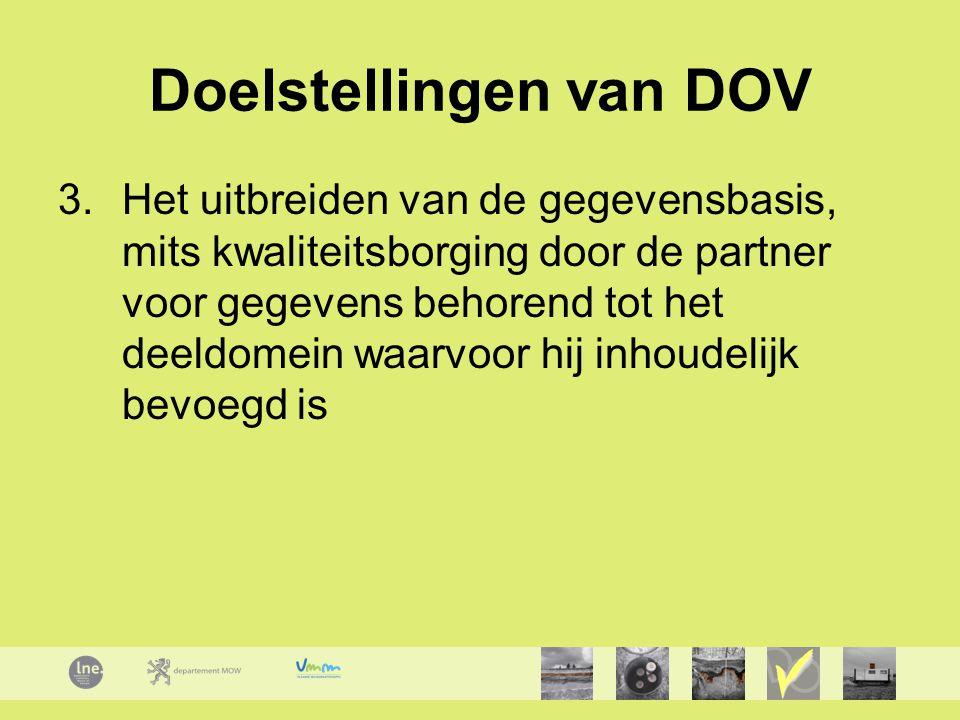 Doelstellingen van DOV 3.Het uitbreiden van de gegevensbasis, mits kwaliteitsborging door de partner voor gegevens behorend tot het deeldomein waarvoor hij inhoudelijk bevoegd is