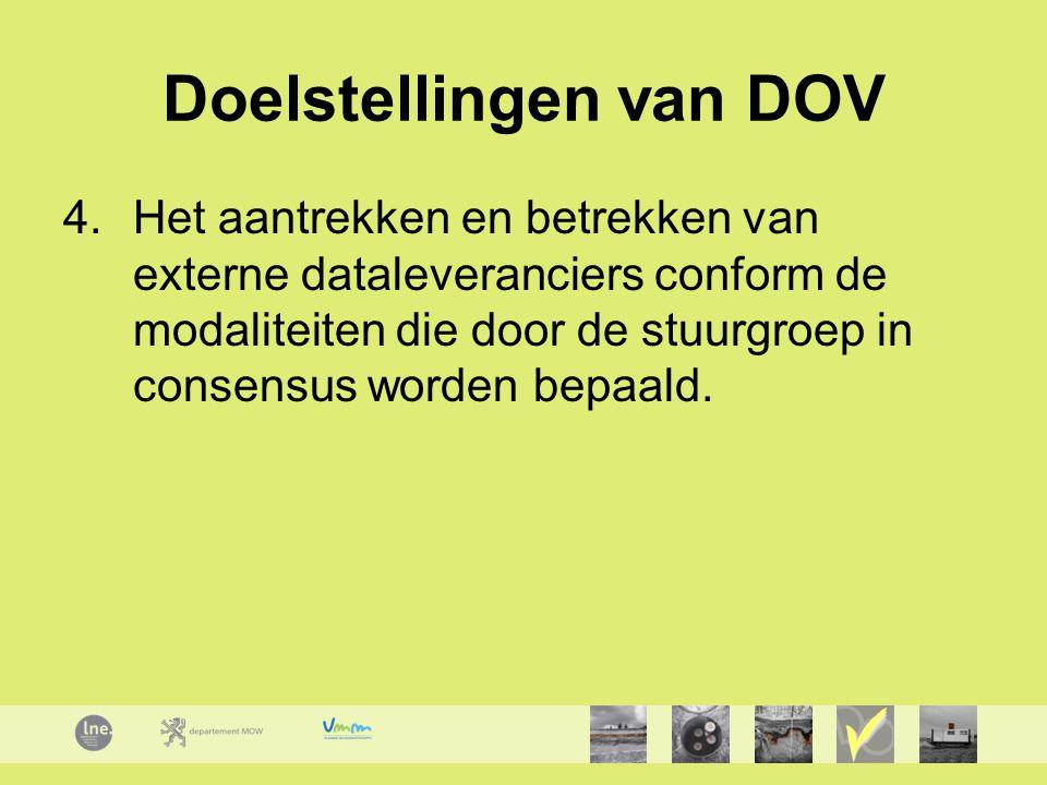 Doelstellingen van DOV 4.Het aantrekken en betrekken van externe dataleveranciers conform de modaliteiten die door de stuurgroep in consensus worden bepaald.