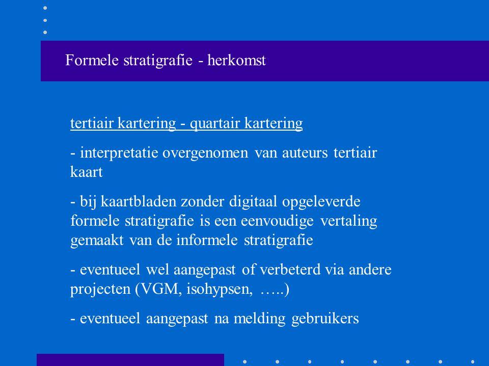 Formele stratigrafie - herkomst tertiair kartering - quartair kartering - interpretatie overgenomen van auteurs tertiair kaart - bij kaartbladen zonder digitaal opgeleverde formele stratigrafie is een eenvoudige vertaling gemaakt van de informele stratigrafie - eventueel wel aangepast of verbeterd via andere projecten (VGM, isohypsen, …..) - eventueel aangepast na melding gebruikers