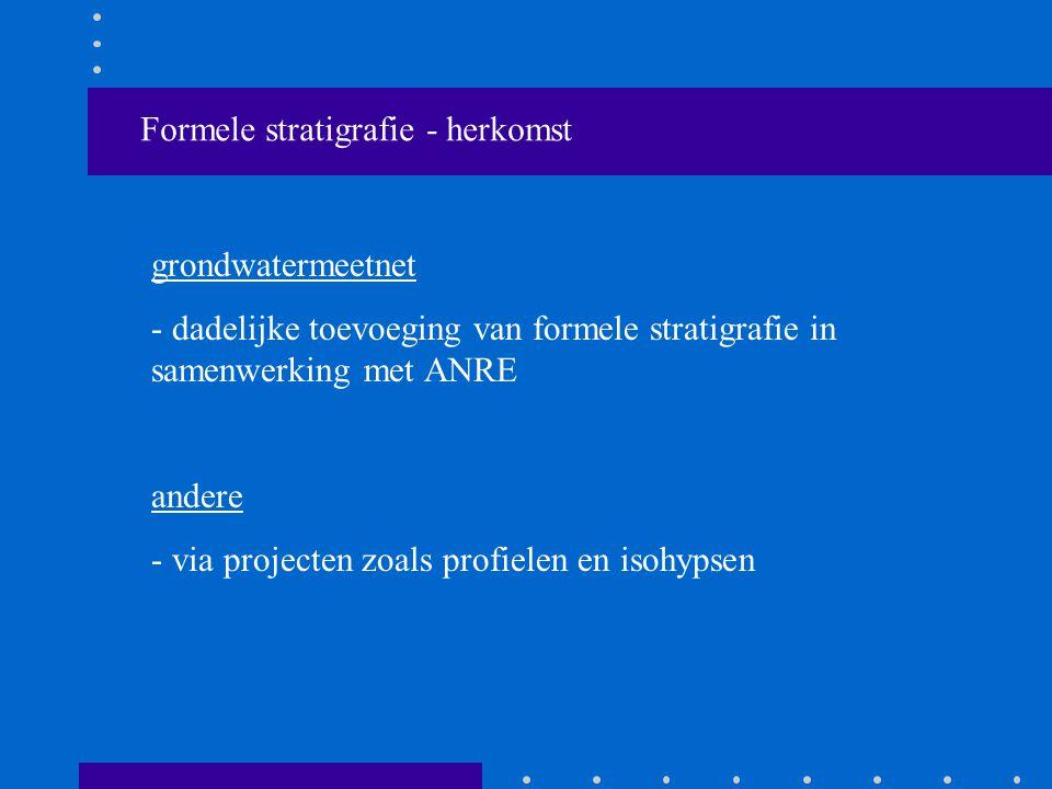 Formele stratigrafie - herkomst grondwatermeetnet - dadelijke toevoeging van formele stratigrafie in samenwerking met ANRE andere - via projecten zoals profielen en isohypsen