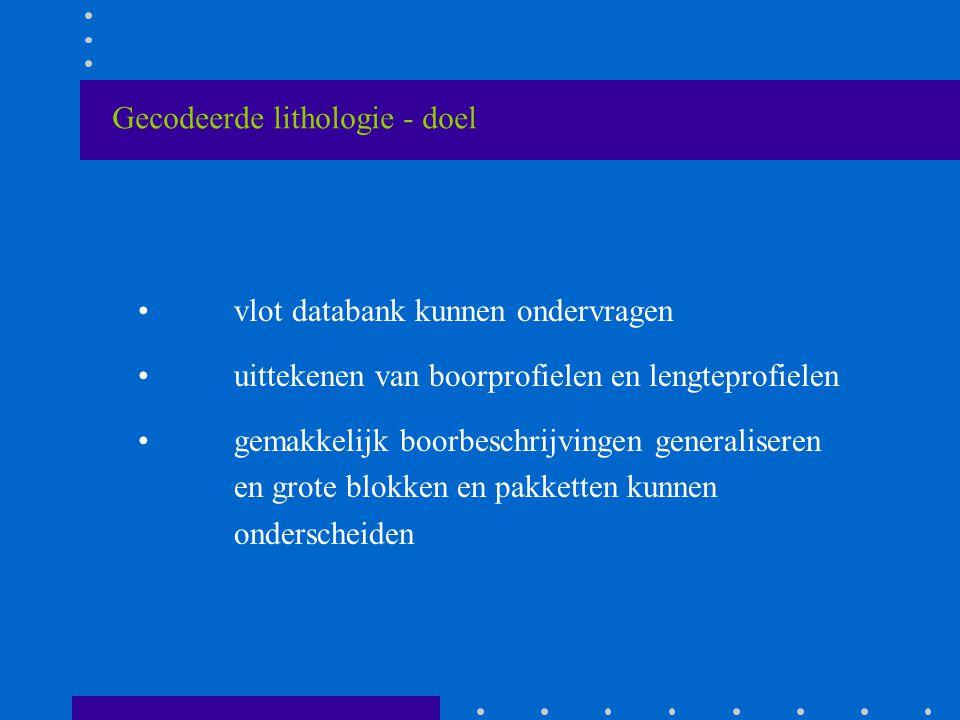 Gecodeerde lithologie - doel vlot databank kunnen ondervragen uittekenen van boorprofielen en lengteprofielen gemakkelijk boorbeschrijvingen generaliseren en grote blokken en pakketten kunnen onderscheiden