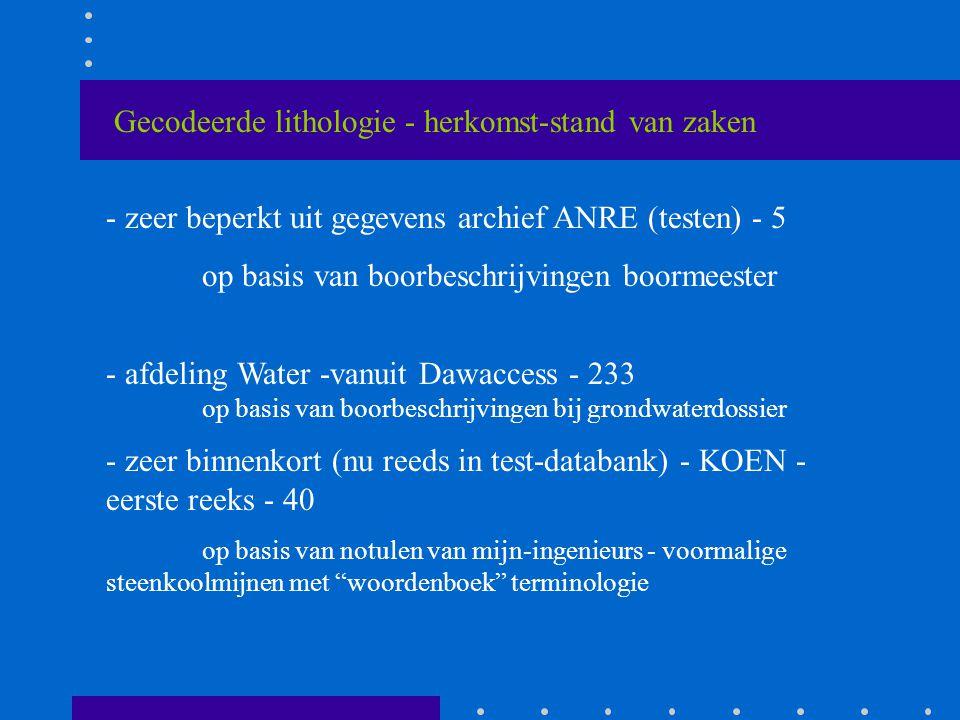 Gecodeerde lithologie - herkomst-stand van zaken - zeer beperkt uit gegevens archief ANRE (testen) - 5 op basis van boorbeschrijvingen boormeester - afdeling Water -vanuit Dawaccess - 233 op basis van boorbeschrijvingen bij grondwaterdossier - zeer binnenkort (nu reeds in test-databank) - KOEN - eerste reeks - 40 op basis van notulen van mijn-ingenieurs - voormalige steenkoolmijnen met woordenboek terminologie