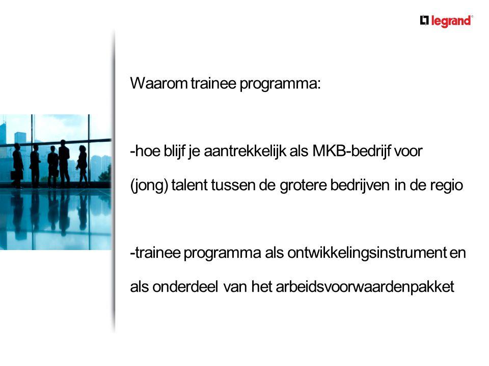 Waarom trainee programma: -hoe blijf je aantrekkelijk als MKB-bedrijf voor (jong) talent tussen de grotere bedrijven in de regio -trainee programma al