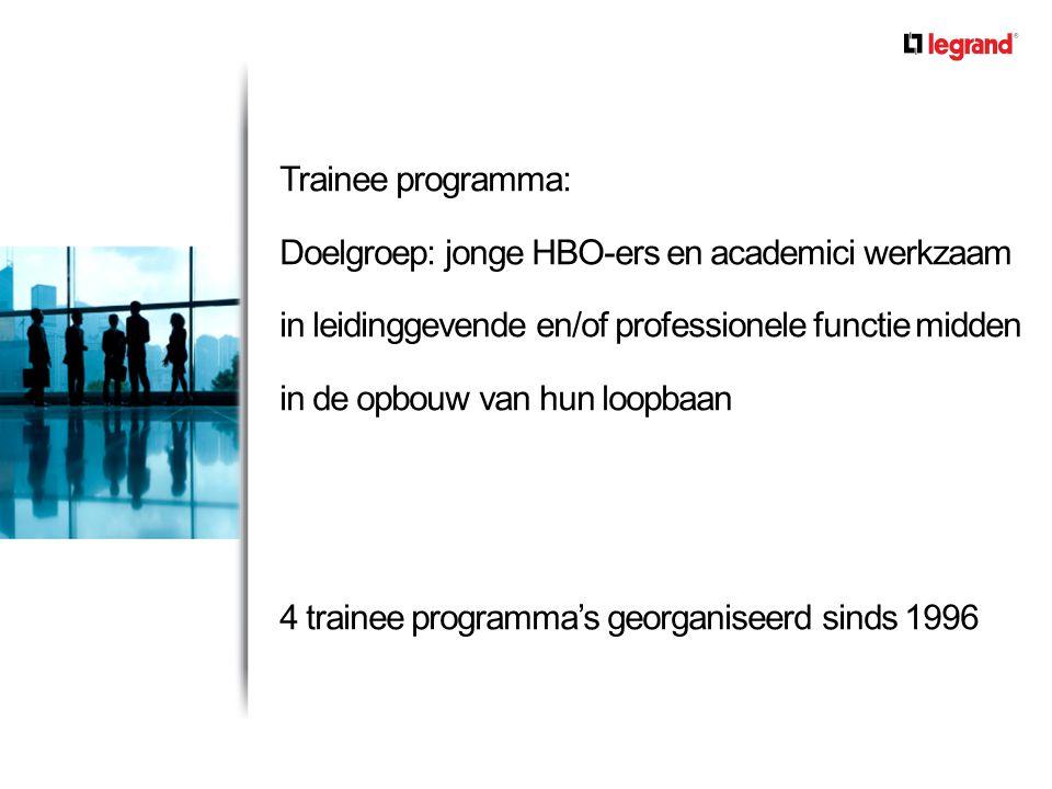 Trainee programma: Doelgroep: jonge HBO-ers en academici werkzaam in leidinggevende en/of professionele functie midden in de opbouw van hun loopbaan 4