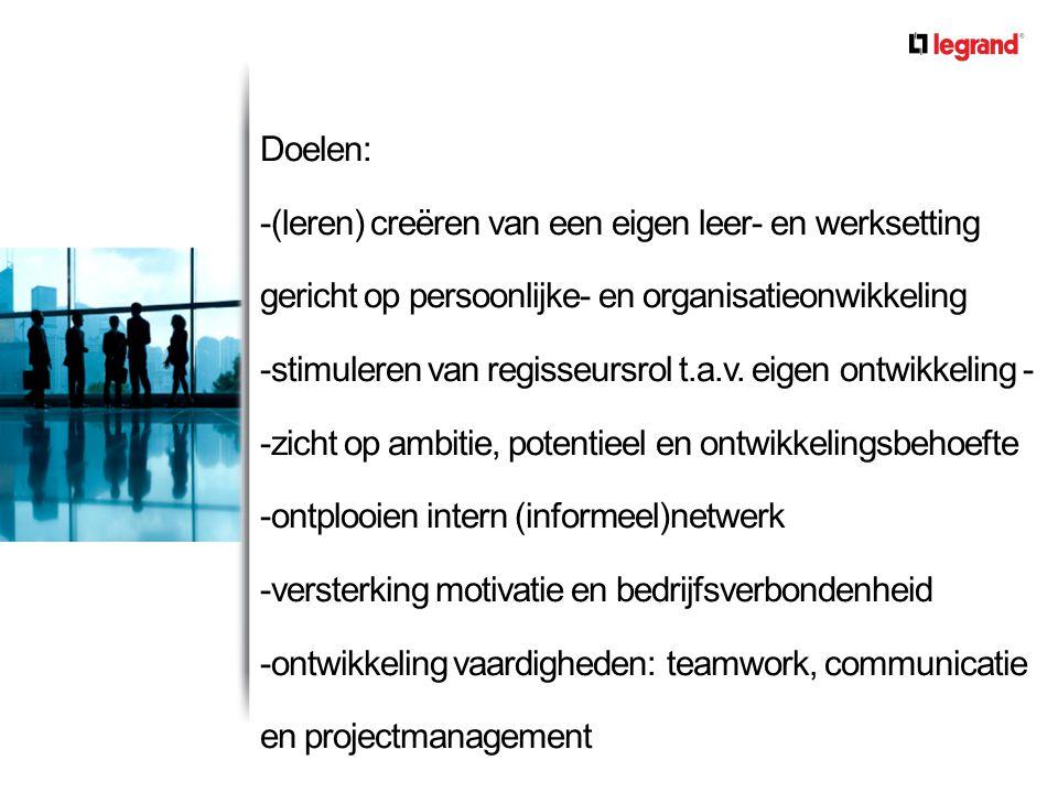 Doelen: -(leren) creëren van een eigen leer- en werksetting gericht op persoonlijke- en organisatieonwikkeling -stimuleren van regisseursrol t.a.v. ei