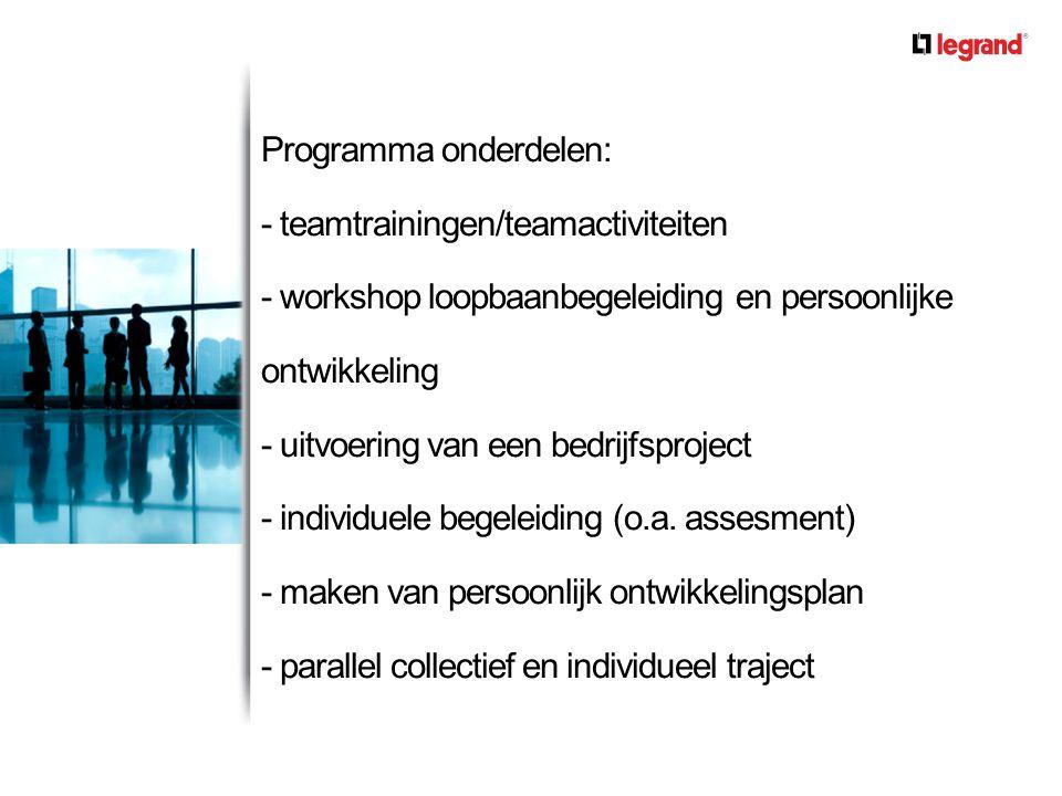 Programma onderdelen: - teamtrainingen/teamactiviteiten - workshop loopbaanbegeleiding en persoonlijke ontwikkeling - uitvoering van een bedrijfsproje