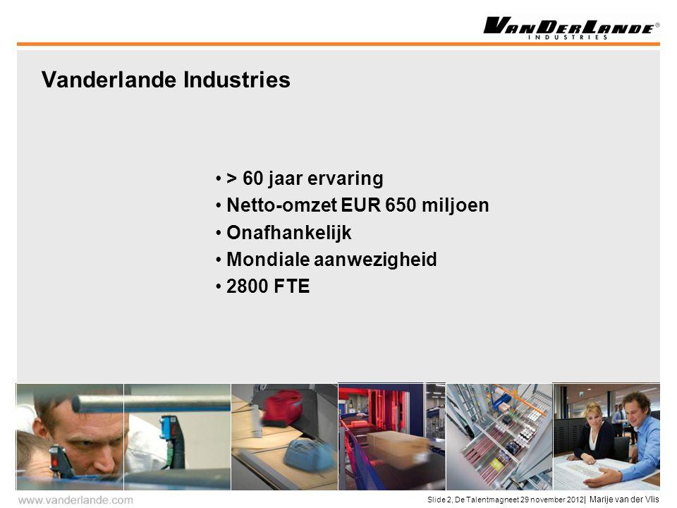 Slide 2, De Talentmagneet 29 november 2012 | Marije van der Vlis > 60 jaar ervaring Netto-omzet EUR 650 miljoen Onafhankelijk Mondiale aanwezigheid 2800 FTE Vanderlande Industries