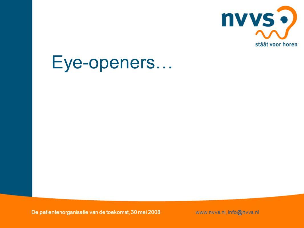 Eye-openers… De patientenorganisatie van de toekomst, 30 mei 2008www.nvvs.nl, info@nvvs.nl