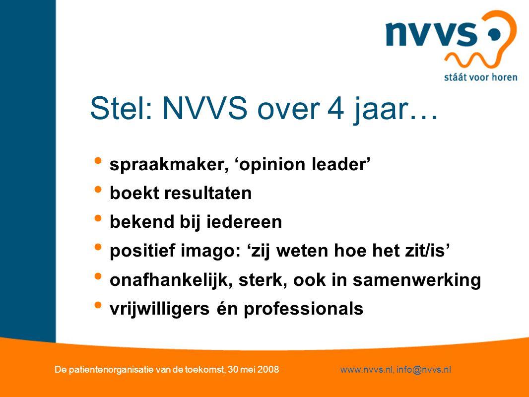 Stel: NVVS over 4 jaar… spraakmaker, 'opinion leader' boekt resultaten bekend bij iedereen positief imago: 'zij weten hoe het zit/is' onafhankelijk, s