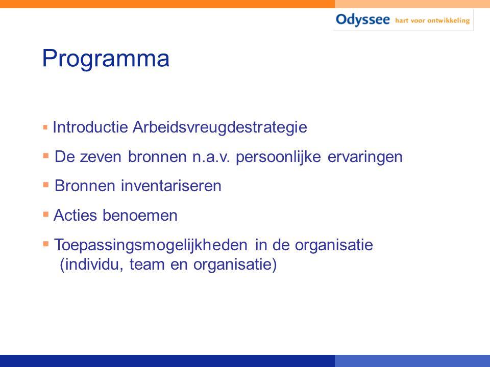 Programma  Introductie Arbeidsvreugdestrategie  De zeven bronnen n.a.v. persoonlijke ervaringen  Bronnen inventariseren  Acties benoemen  Toepass