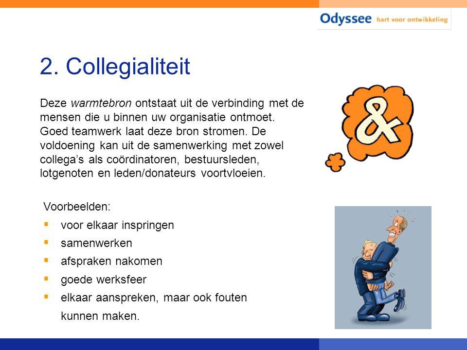 2. Collegialiteit Voorbeelden:  voor elkaar inspringen  samenwerken  afspraken nakomen  goede werksfeer  elkaar aanspreken, maar ook fouten kunne