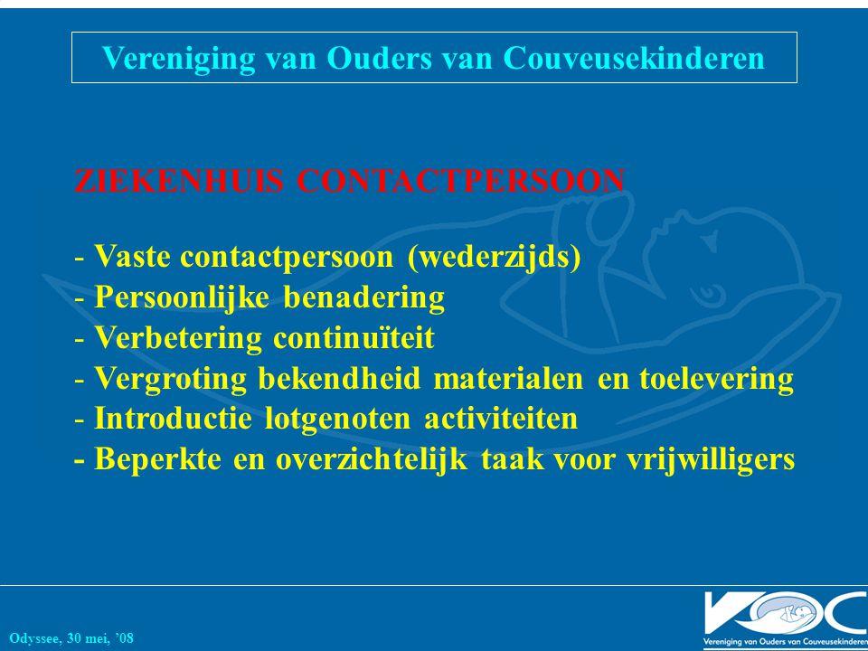 Vereniging van Ouders van Couveusekinderen Odyssee, 30 mei, '08 ZIEKENHUIS CONTACTPERSOON - Vaste contactpersoon (wederzijds) - Persoonlijke benaderin