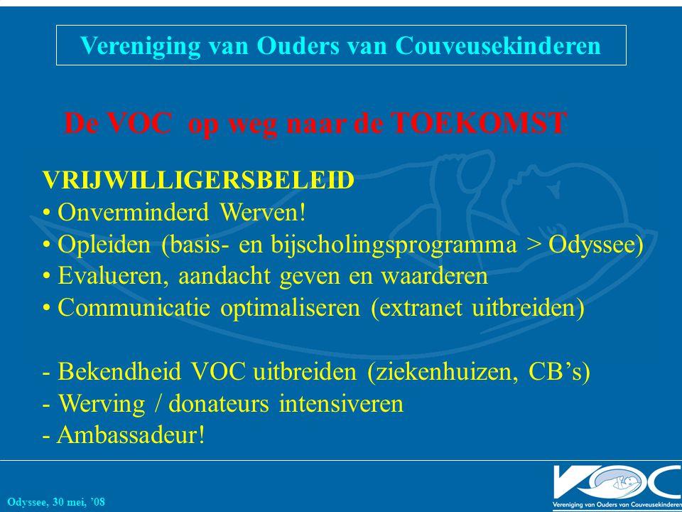 Vereniging van Ouders van Couveusekinderen Odyssee, 30 mei, '08 De VOC op weg naar de TOEKOMST VRIJWILLIGERSBELEID Onverminderd Werven! Opleiden (basi
