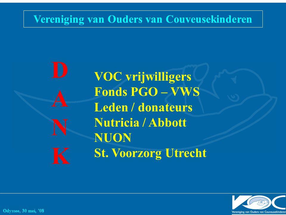 Vereniging van Ouders van Couveusekinderen Odyssee, 30 mei, '08 DANKDANK VOC vrijwilligers Fonds PGO – VWS Leden / donateurs Nutricia / Abbott NUON St.
