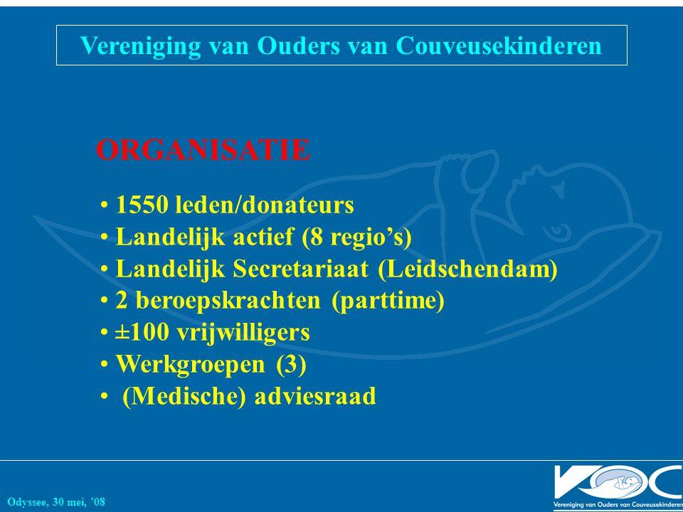 Vereniging van Ouders van Couveusekinderen Odyssee, 30 mei, '08 1550 leden/donateurs Landelijk actief (8 regio's) Landelijk Secretariaat (Leidschendam) 2 beroepskrachten (parttime) ±100 vrijwilligers Werkgroepen (3) (Medische) adviesraad ORGANISATIE