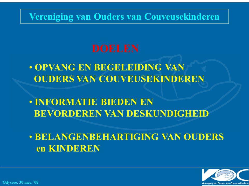 Vereniging van Ouders van Couveusekinderen Odyssee, 30 mei, '08 OPVANG EN BEGELEIDING VAN OUDERS VAN COUVEUSEKINDEREN INFORMATIE BIEDEN EN BEVORDEREN VAN DESKUNDIGHEID BELANGENBEHARTIGING VAN OUDERS en KINDEREN DOELEN
