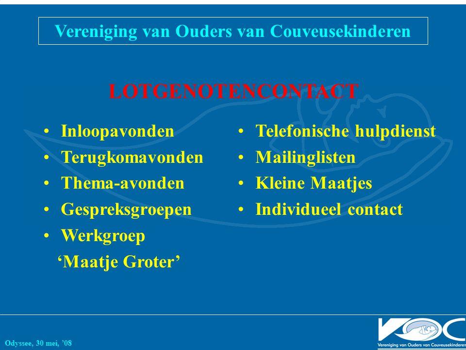 Vereniging van Ouders van Couveusekinderen Odyssee, 30 mei, '08 LOTGENOTENCONTACT Inloopavonden Terugkomavonden Thema-avonden Gespreksgroepen Werkgroe
