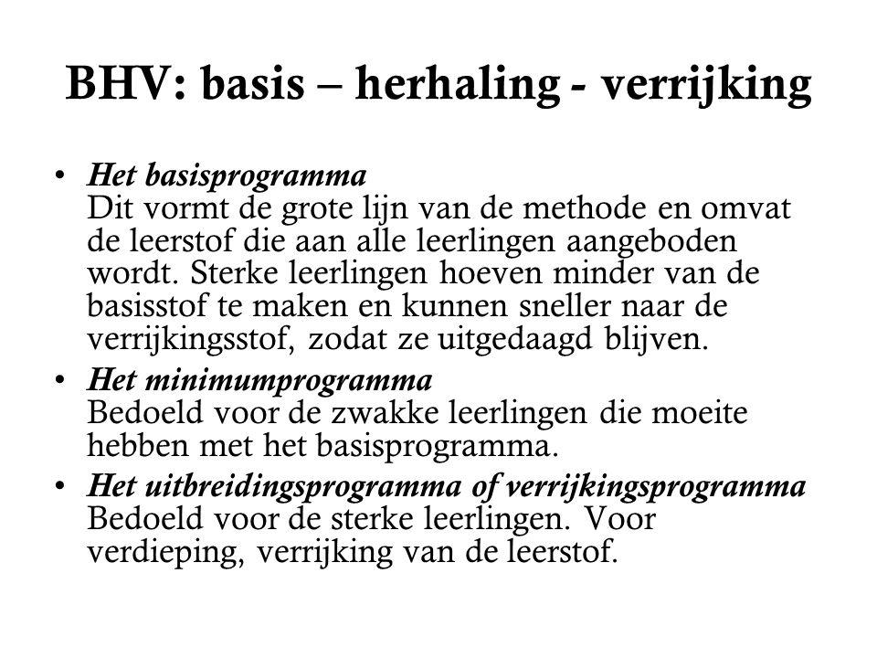 BHV: basis – herhaling - verrijking Het basisprogramma Dit vormt de grote lijn van de methode en omvat de leerstof die aan alle leerlingen aangeboden wordt.