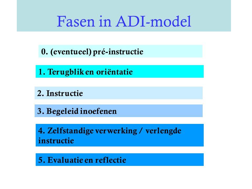 Fasen in ADI-model 0.(eventueel) pré-instructie 1.