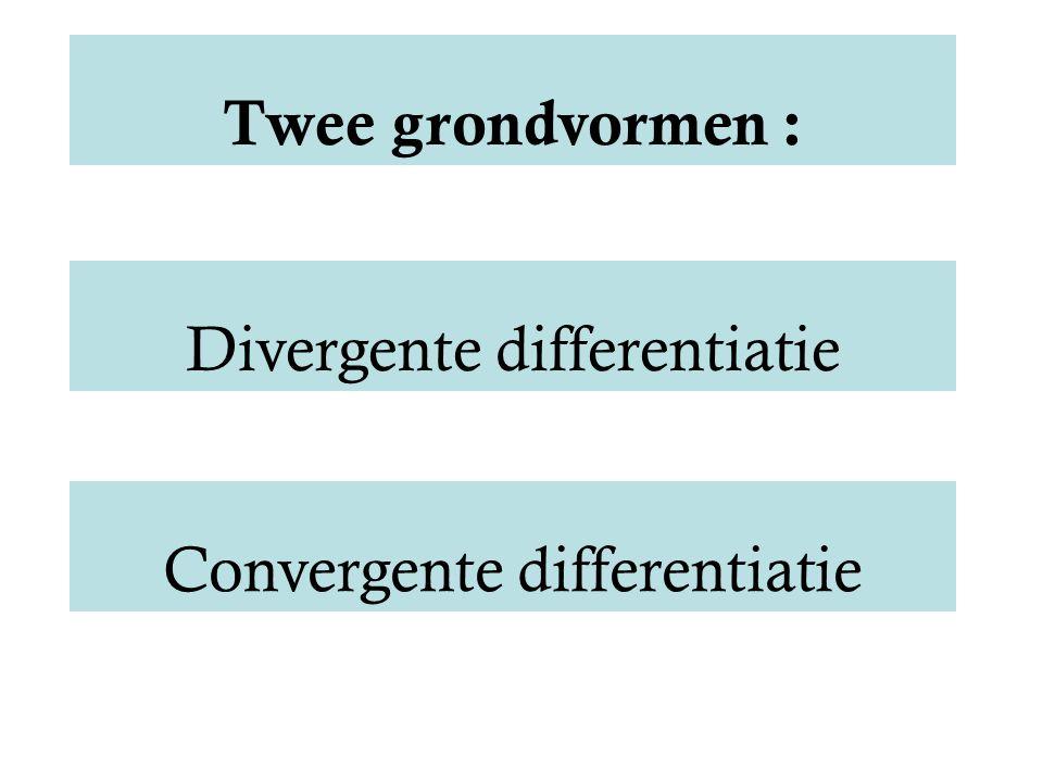 Twee grondvormen : Convergente differentiatie Divergente differentiatie