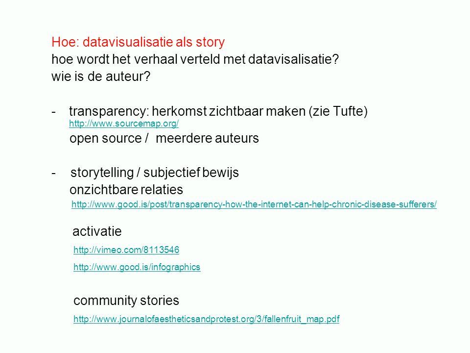 Hoe: datavisualisatie als story hoe wordt het verhaal verteld met datavisalisatie.