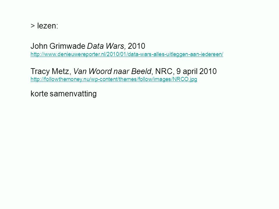> lezen: John Grimwade Data Wars, 2010 http://www.denieuwereporter.nl/2010/01/data-wars-alles-uitleggen-aan-iedereen/ Tracy Metz, Van Woord naar Beeld