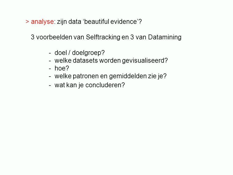 > analyse: zijn data 'beautiful evidence'? 3 voorbeelden van Selftracking en 3 van Datamining - doel / doelgroep? - welke datasets worden gevisualisee