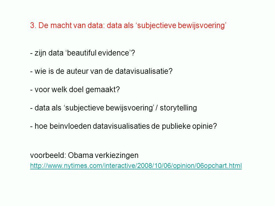 3. De macht van data: data als 'subjectieve bewijsvoering' - zijn data 'beautiful evidence'.