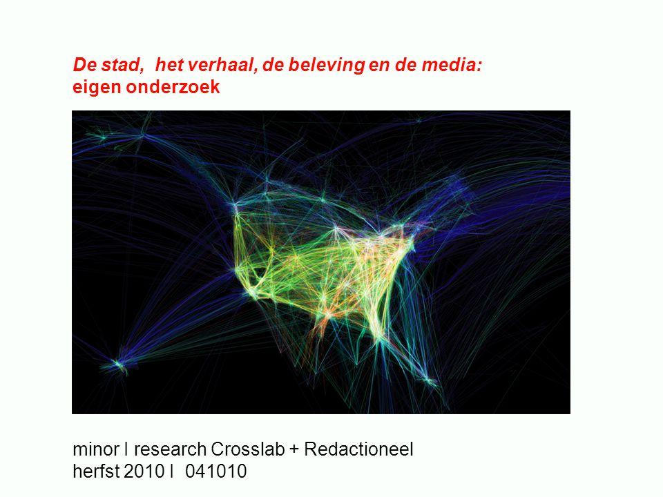 De stad, het verhaal, de beleving en de media: eigen onderzoek minor I research Crosslab + Redactioneel herfst 2010 I 041010
