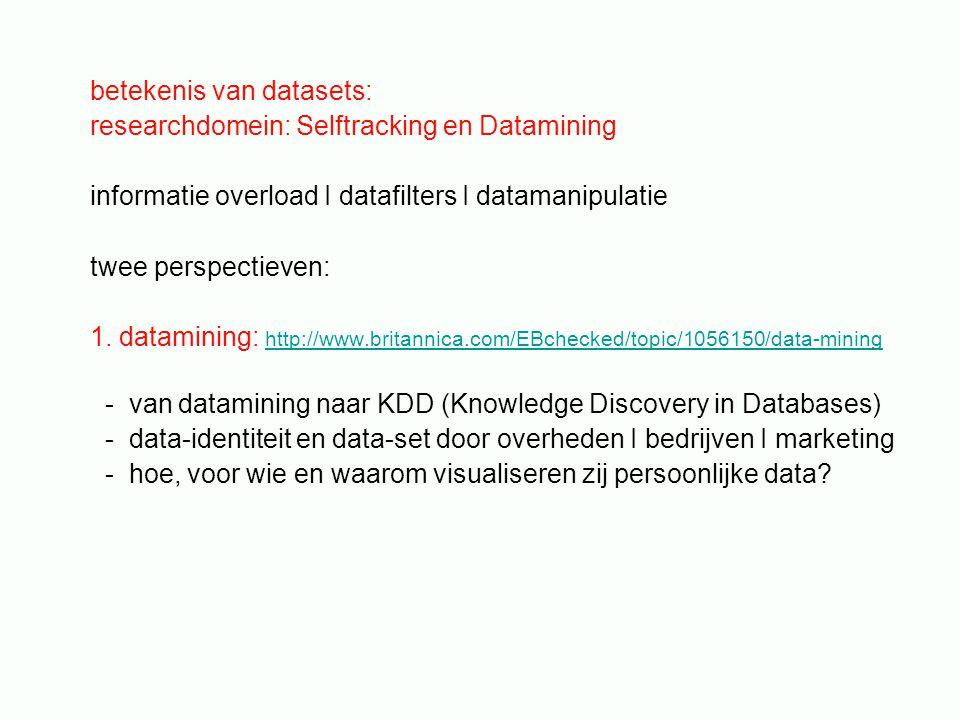 betekenis van datasets: researchdomein: Selftracking en Datamining informatie overload I datafilters I datamanipulatie twee perspectieven: 1.