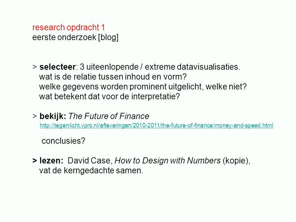 research opdracht 1 eerste onderzoek [blog] > selecteer: 3 uiteenlopende / extreme datavisualisaties.