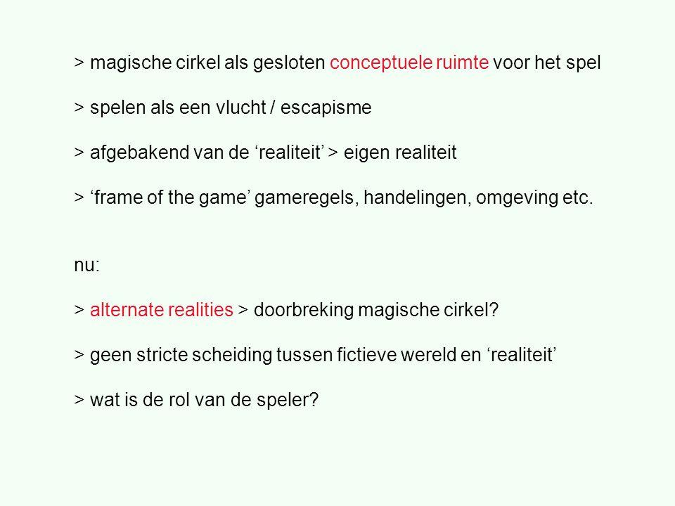 > magische cirkel als gesloten conceptuele ruimte voor het spel > spelen als een vlucht / escapisme > afgebakend van de 'realiteit' > eigen realiteit > 'frame of the game' gameregels, handelingen, omgeving etc.