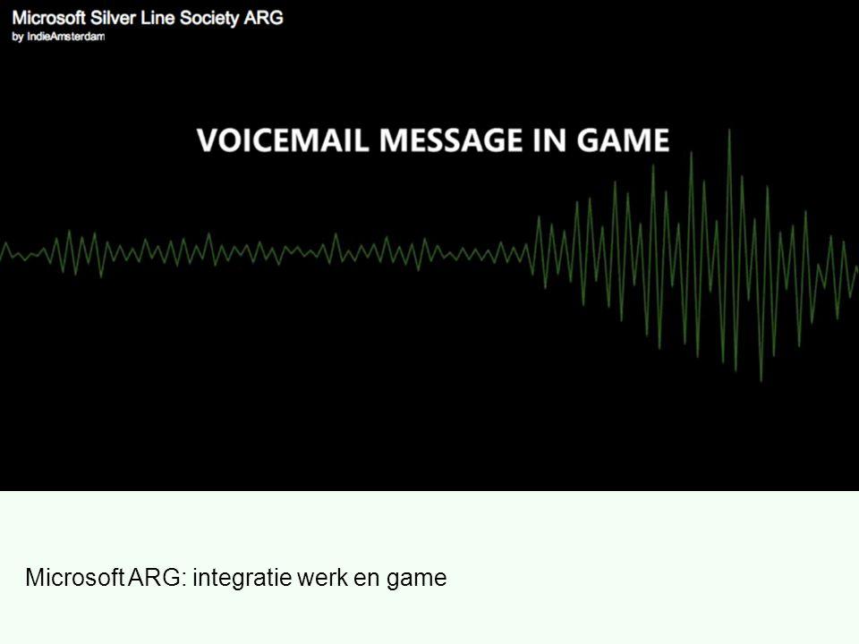 Microsoft ARG: integratie werk en game