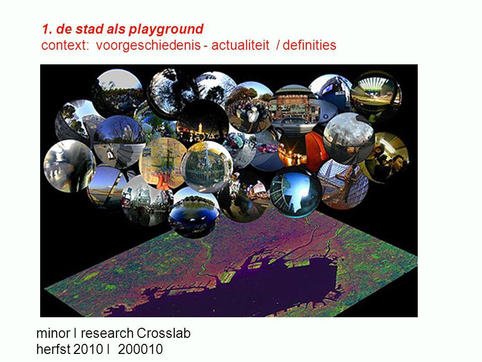 1. de stad als playground context: voorgeschiedenis - actualiteit / definities minor I research Crosslab herfst 2010 I 200010