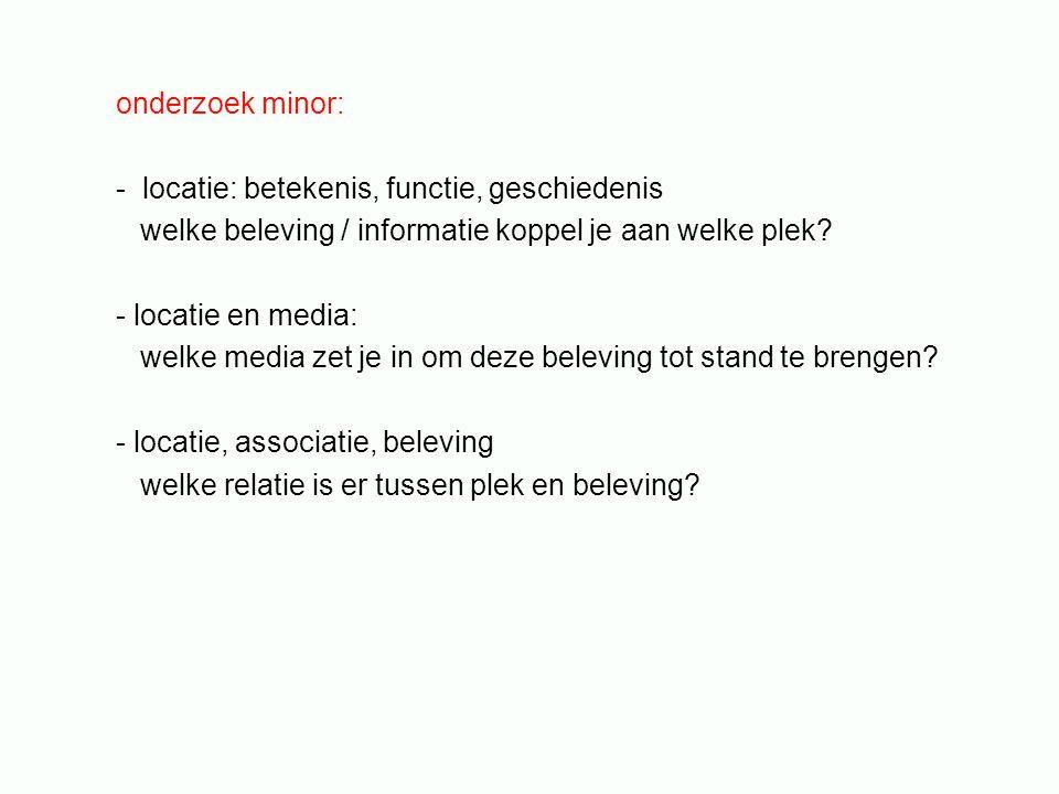 onderzoek minor: - locatie: betekenis, functie, geschiedenis welke beleving / informatie koppel je aan welke plek? - locatie en media: welke media zet
