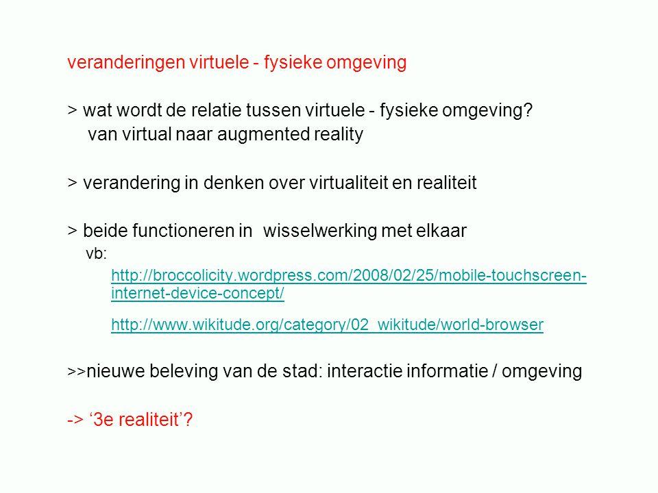 veranderingen virtuele - fysieke omgeving > wat wordt de relatie tussen virtuele - fysieke omgeving? van virtual naar augmented reality > verandering