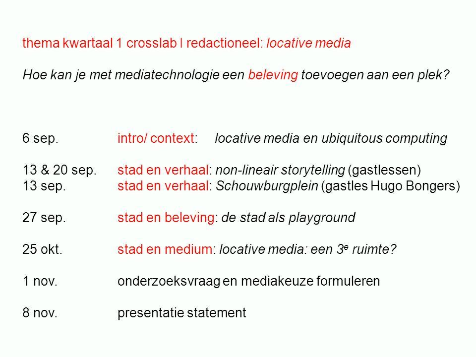 thema kwartaal 1 crosslab I redactioneel: locative media Hoe kan je met mediatechnologie een beleving toevoegen aan een plek? 6 sep. intro/ context: l