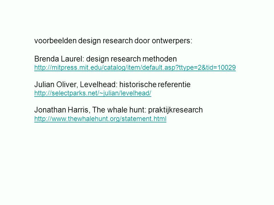 voorbeelden design research door ontwerpers: Brenda Laurel: design research methoden http://mitpress.mit.edu/catalog/item/default.asp?ttype=2&tid=1002
