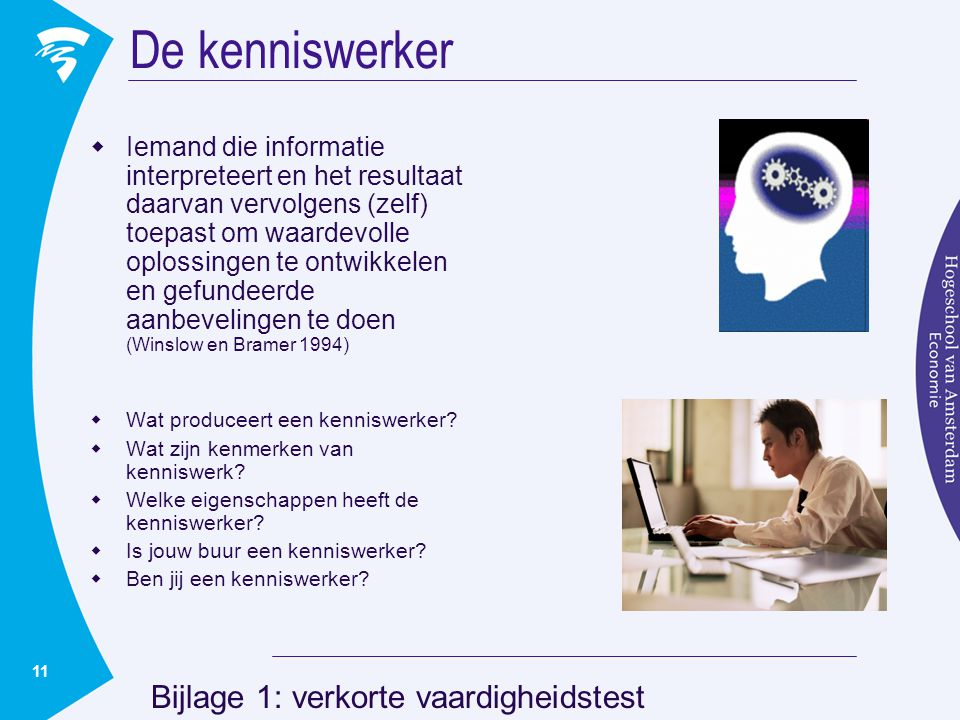 11 De kenniswerker  Iemand die informatie interpreteert en het resultaat daarvan vervolgens (zelf) toepast om waardevolle oplossingen te ontwikkelen en gefundeerde aanbevelingen te doen (Winslow en Bramer 1994)  Wat produceert een kenniswerker.