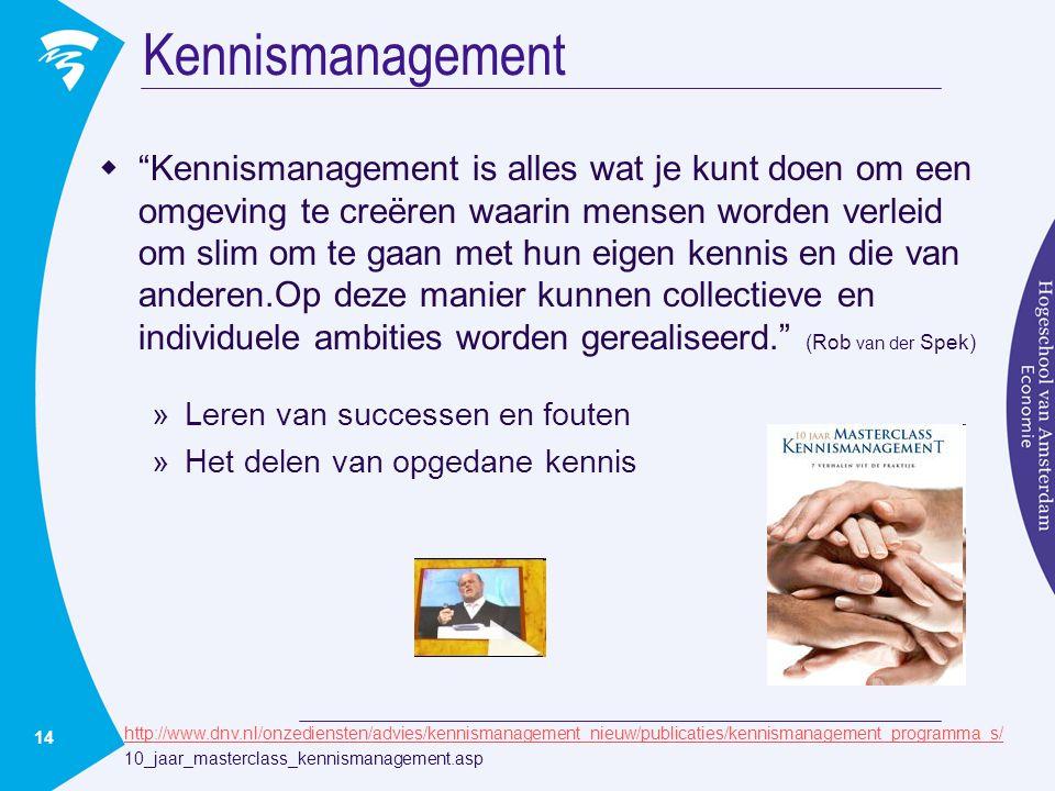 14 Kennismanagement  Kennismanagement is alles wat je kunt doen om een omgeving te creëren waarin mensen worden verleid om slim om te gaan met hun eigen kennis en die van anderen.Op deze manier kunnen collectieve en individuele ambities worden gerealiseerd. (Rob van der Spek) »Leren van successen en fouten »Het delen van opgedane kennis http://www.dnv.nl/onzediensten/advies/kennismanagement_nieuw/publicaties/kennismanagement_programma_s/ 10_jaar_masterclass_kennismanagement.asp