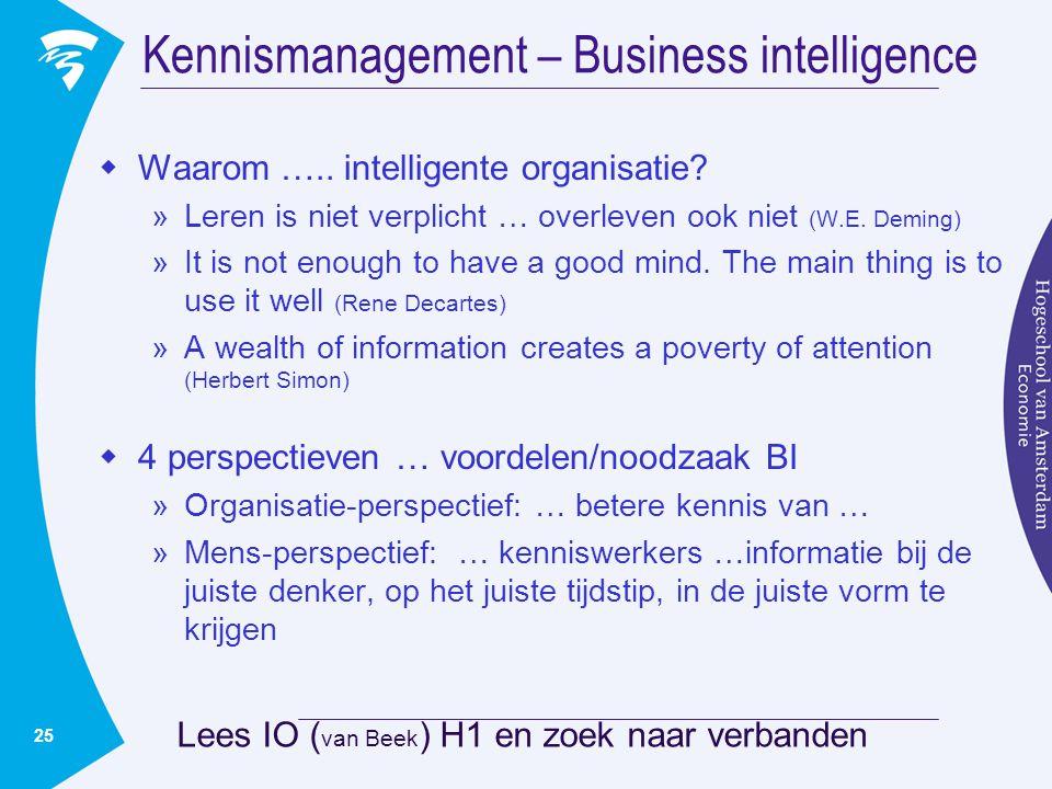 25 Kennismanagement – Business intelligence  Waarom ….. intelligente organisatie? »Leren is niet verplicht … overleven ook niet (W.E. Deming) »It is